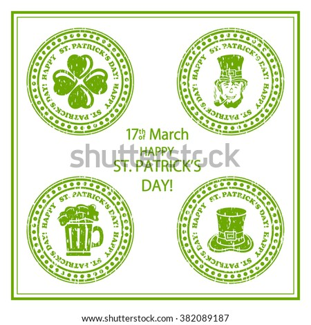 Set of St. Patricks Day green stamps on white background, illustration. - stock photo