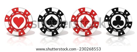Set of standing gambling poker chips, with spade, heart diamond and club sign on it. 3D render Isolated on white background - stock photo