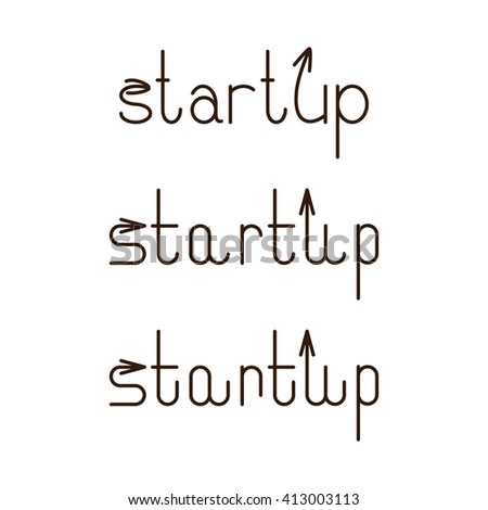 Set of startup letterings with arrows on letter s and letter u. Start up business logo template - stock photo
