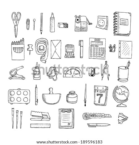 Set  of stationery. Doodle on a white background. - stock photo
