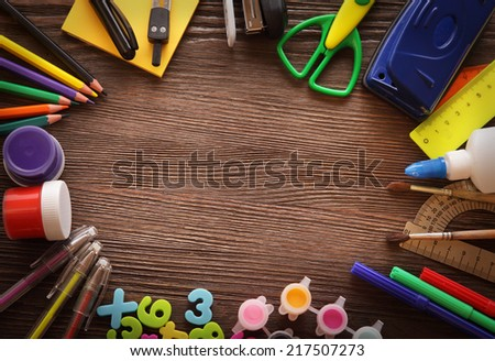 set of stationery frame on wood table - stock photo