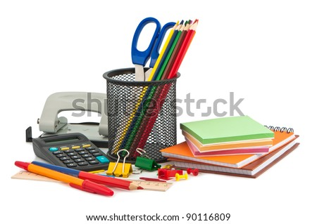 Set of stationery items. - stock photo