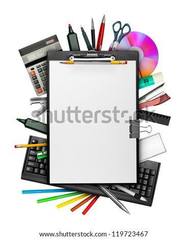 Set of stationery with clipboard on top isolated on white - stock photo