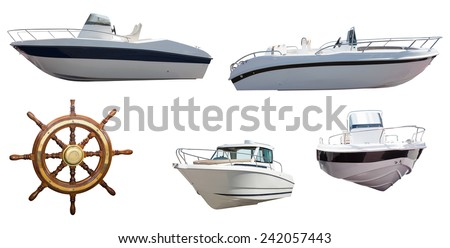 Set of steering wheel and motor boats. Isolated over white background - stock photo