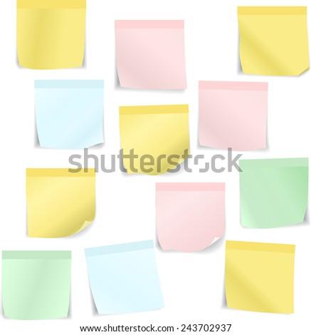 Set of stick notes. Raster version - stock photo