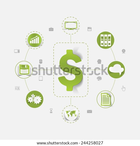 Set of sticker design. High-tech business concept - stock photo