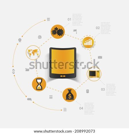Set of sticker design. High-tech communication concept - stock photo