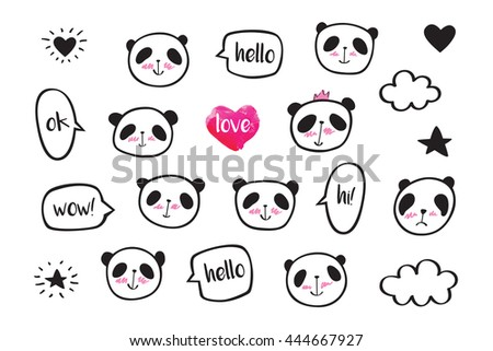 Set of stickers with cute pandas. Badges for clothing. Doodles, sketch for your design. Hand drawing. - stock photo