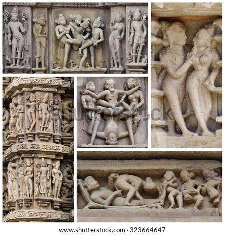 Set of stone carved erotic bas-relief in Hindu temple in Khajuraho, India. Unesco World Heritage Site  - stock photo