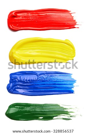 Set of strokes of multicolored paint isolated on white background - stock photo
