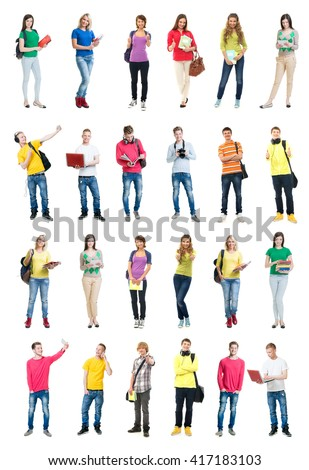 Set of students having fun on isolated background. - stock photo