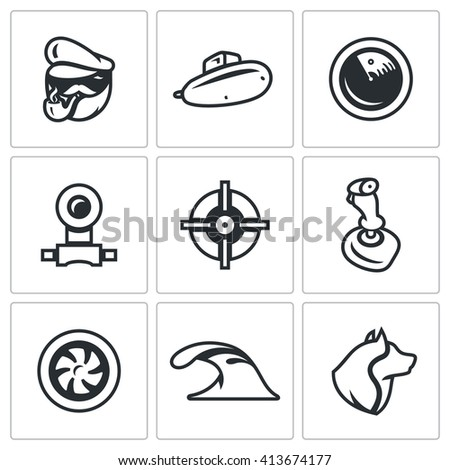 Set of Submarine Icons. Captain, Boat, Radar, Periscope, Aim, Control, Torpedo, Dive, Sea Wolf. Scuba military armament of the country. Isolated symbols on a white background - stock photo