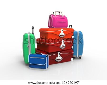 Set of suitcase isolated on white - stock photo