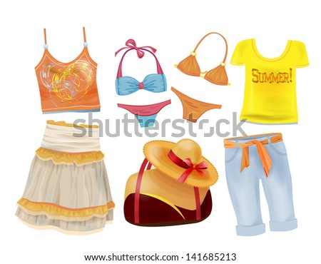 set of summer clothes for girls - stock photo