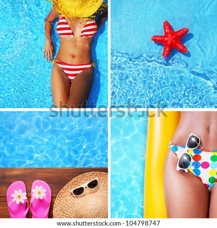 Set of summer holiday images - stock photo