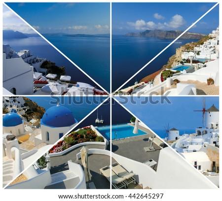 Set of summer photos in Santorini, Greece - stock photo