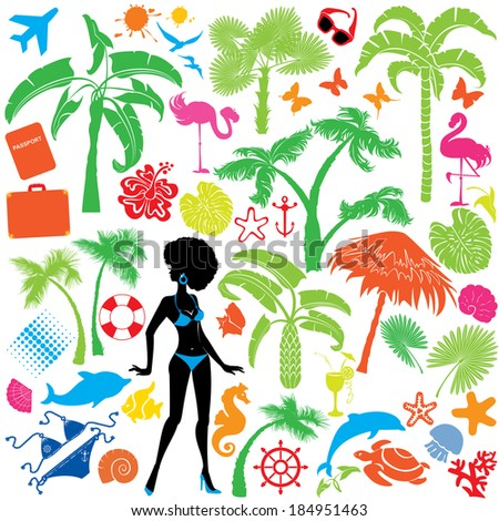 Set of summer, travel and vacations symbols - silhouettes of woman in bikini, tropical palms trees, butterflies, marine life, etc. Raster version - stock photo