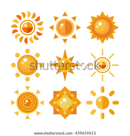 Set of sun icons. Sun symbol in flat style. Sun star logo design. Sun isolated on white background. Raster copy. - stock photo
