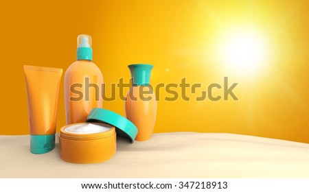 set of sun lotions in the sand - stock photo
