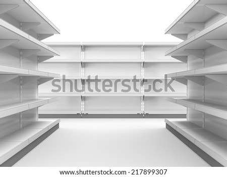 set of supermarket shelves in perspective. render - stock photo