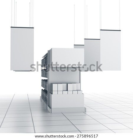 set of supermarket shelves with blank products - stock photo