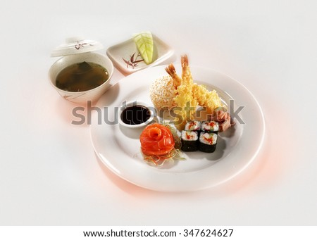 Set of sushi and tempura - stock photo