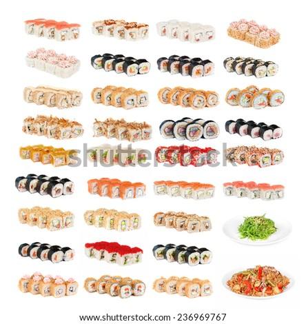 Set of sushi fresh rolls isolated - stock photo