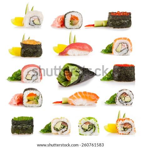 Set of sushi pieces, isolated on white background - stock photo