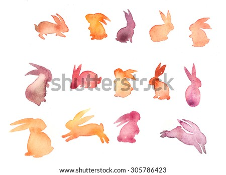 Set of sweet Happy rabbit illustration. Watercolor rabbit silhouette. Mid-Autumn festival. lovely background with hare. Funny doodle bunny. Watercolor bunny - stock photo