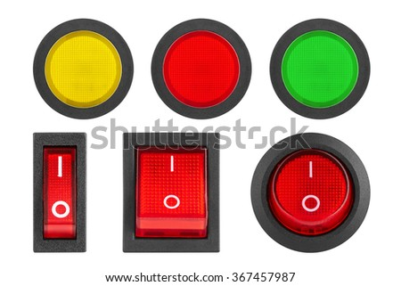 Set of switches and buttons, isolated on white background - stock photo