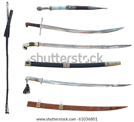 Set of swords and whip. Isolated on white, with clipping path. - stock photo