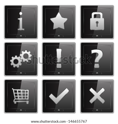 Set of Tablet PCs with Icons - stock photo