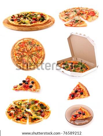 Set of tasty Italian pizza over white - stock photo