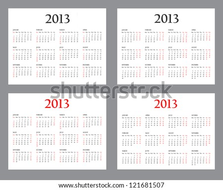 Set of Template Calendars for 2013 on a white background - stock photo