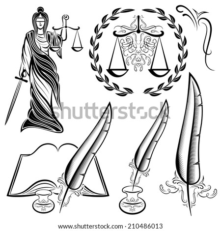 set of templates design elements for law - stock photo
