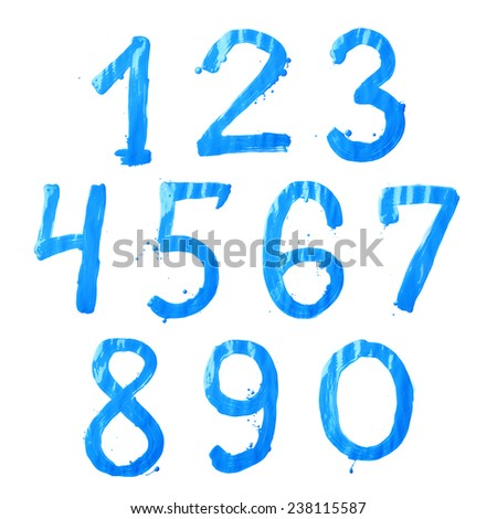 Set of ten number digit characters hand drawn with the oil paint brush strokes isolated over the white background - stock photo