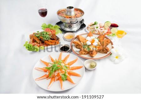 Set of Thai food popular menu , dish Thai , Thai dish ,south east asian food. - stock photo