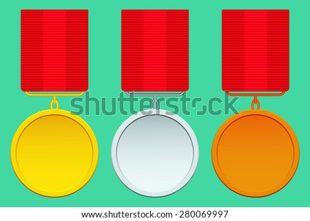 Set of the abstract gold, silver and bronze medals - stock photo