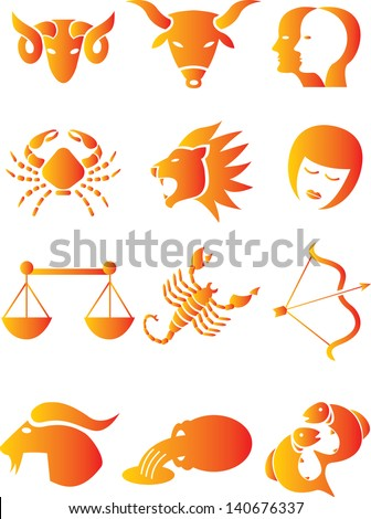 Set of the 12 astrological signs of Zodiac - stock photo