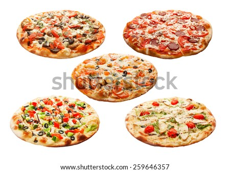 Set of the best Italian pizzas isolated on white background - stock photo