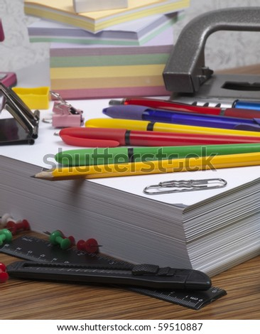 Set of the  different office tools - stock photo