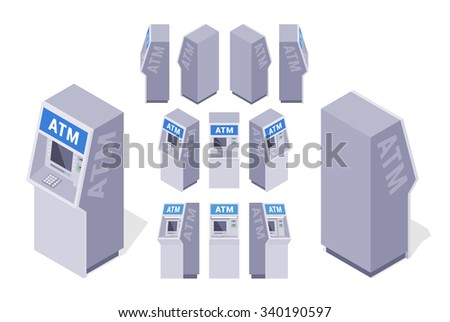 Set of the isometric ATMs. The objects are isolated against the white background and shown from different sides - stock photo