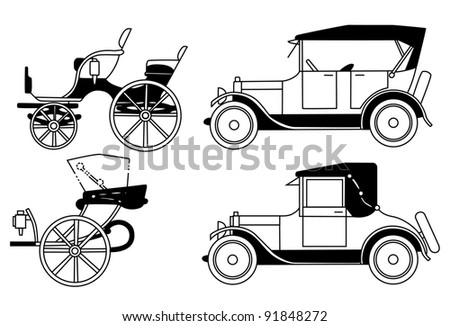 set of the old isolated cars - stock photo