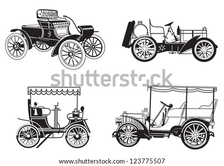 set of the retro automobiles - stock photo