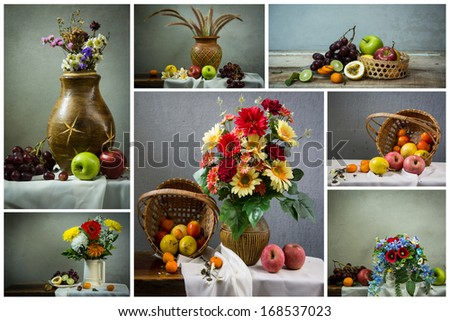 set of the Still life with a apple and a orange and passion fruit set - stock photo