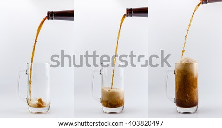 Set of three beer glass mugs. Pouring process of dark stout beer into a beer glass mug, splashes, drops and froth around glass mug against white background - stock photo