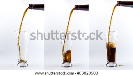 Set of three beer glasses. Pouring process of dark stout beer into a beer glass, splashes, drops and froth around glass against white background - stock photo
