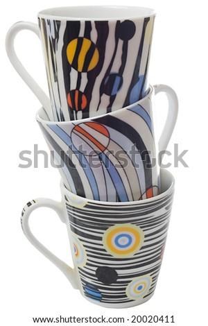 Set of three coffee cups, isolated on white background - stock photo