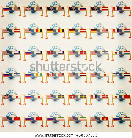 Set of three-dimensional image of the flags of world on a white background . 3D illustration. Vintage style. - stock photo