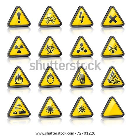 Set of three-dimensional Warning Hazard Signs. Bitmap copy my vector ID 72579139 - stock photo